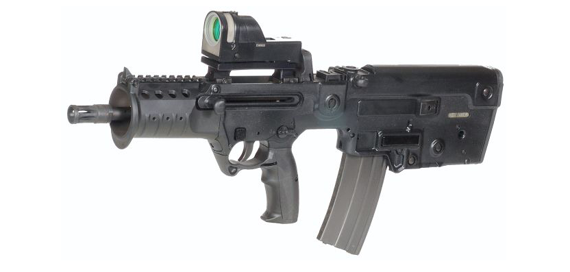 The Micro Tavor MTAR-21, known as an X95 to civilians, is chambered in 5.56 and takes NATO AR magazines.