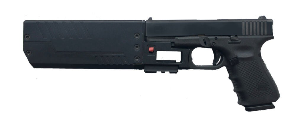 An FD suppressor attached to a Glock pistol.