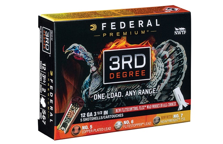 Federal's 3rd Degree shells use a three-stage payload that makes them effective for close turkeys as well as birds at 40 to 50 yards.