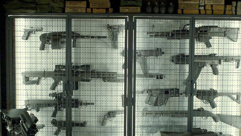 A wall of Franks former commander's hidden arsenal.