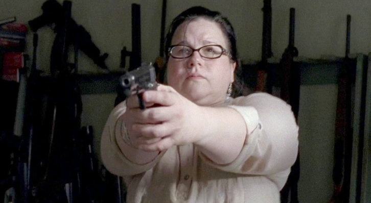 One of the zombie apocalypse survivors, Olivia (Ann Mahoney), in *The Walking Dead* aims a Star Model B. [photo from imfdb.org](http://www.imfdb.org/wiki/Main_Page)