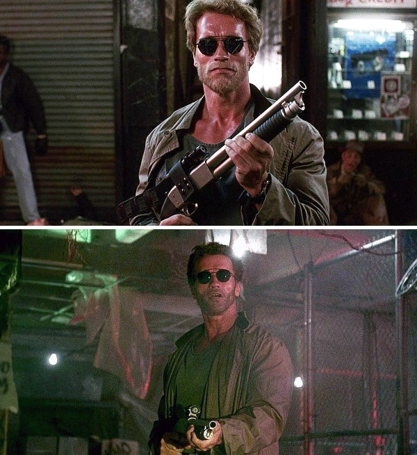 Arnold begins his on-screen love affair with short shotguns with this Ithaca 37