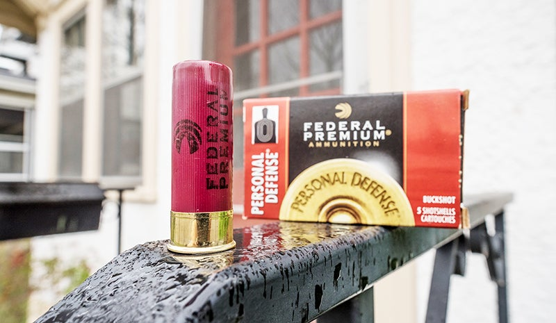 Some shells, like these Personal Defense loads from Federal, are specifically designed for defensive shotgunning. These shells carry 34 copper-plated pellets of #4 Buck.