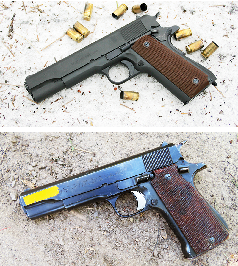 The left side of this 1911A, top, has straight rear slide, the standard slide stop and thumb safety. The Star, below, has nearly the exact same serrations, slide stop and thumb safety. The trigger als
