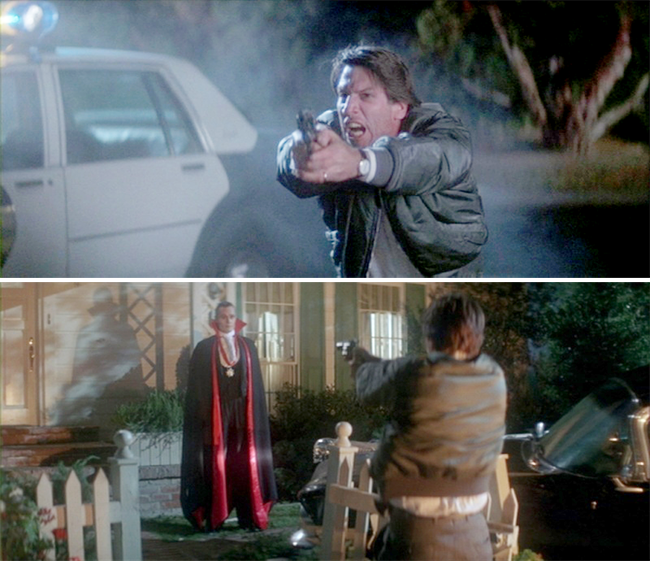 Del takes a few ineffective shots at Dracula after he blows up his son's treehouse.