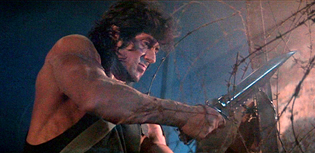 Rambo's knife for the third film was designed by Gil Hibben and is a departure from the designs in the previous two films.