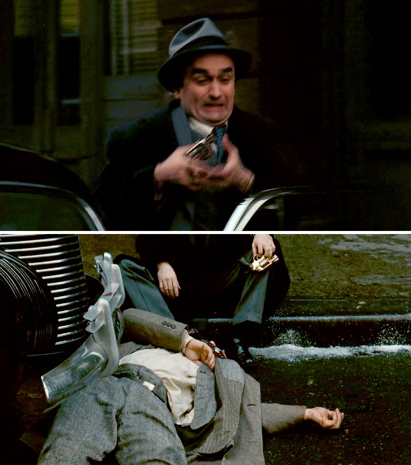 Fredo fumbles his Model 36 as he attempts to come to his father's aid during the assassination attempt.
