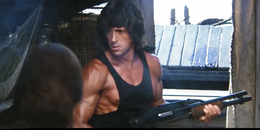 When the river pirates turn on them, Rambo takes a Remington 870 shotgun from one of them after disabling him with two small hide-away push daggers.