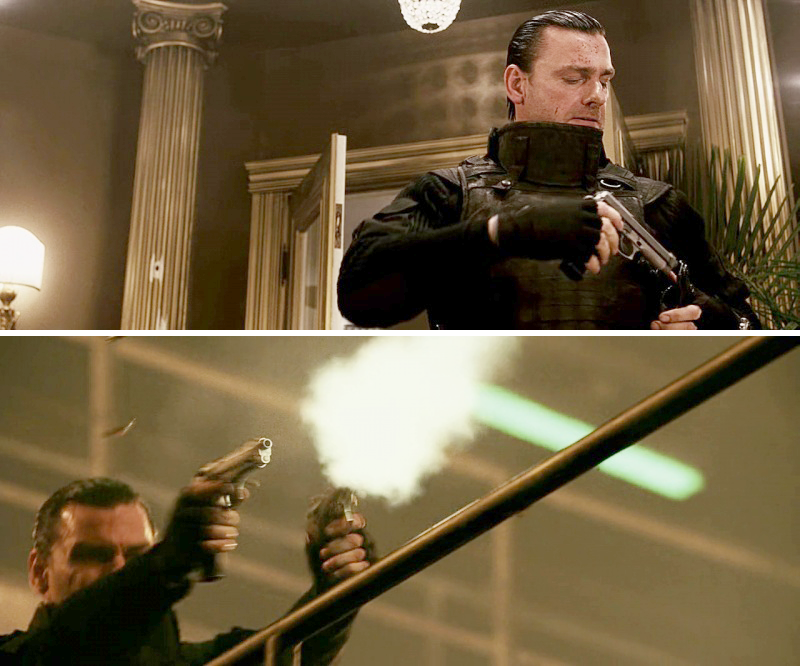 This Punisher uses a pair of Beretta 92FS Inox pistols converted to fire full auto.