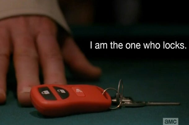 Walt used a keyfob car remote on his keys to trigger the mechanism in his trunk.