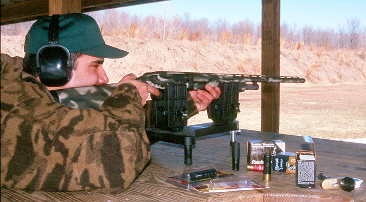 When it comes to choke tubes and ammunition selection, nothing, absolutely nothing, can take the place of time spent on the range. Here, the author's son, Adrian, experiments with a new Mossberg Model