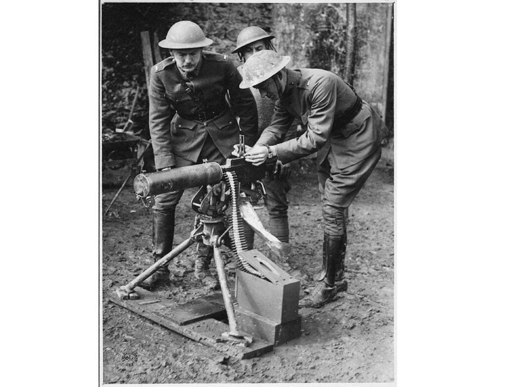 Val Browning, the inventor's son, demonstrates the M1917. He instructed U.S. troops in France on how to use the new gun.