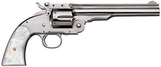 A modern replica if the S&W Model 3 Schofield top-break revolver from Uberti with a nickel finish and pearl grips.