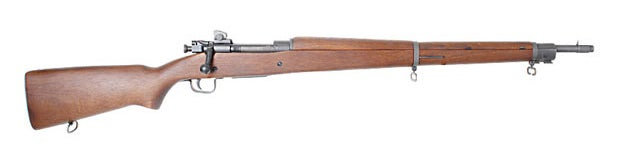 The Springfield Model 1903 rifle was originally designed for the .30-03 cartridge. It was redesigned in 1906 for the new .30-06 cartridge.