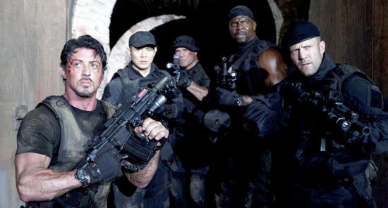 Ross and the other members of the Expendables, several armed with Noveske Rifleworks Diplomat rifles.