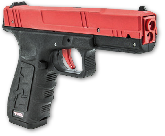 The SIRT 110 pistol has the size, weight and feel of a Glock 17/22 handgun with a resettable trigger, removable magazine, and two lasers to indicate trigger prep (takeup) and break (shot). You'll have
