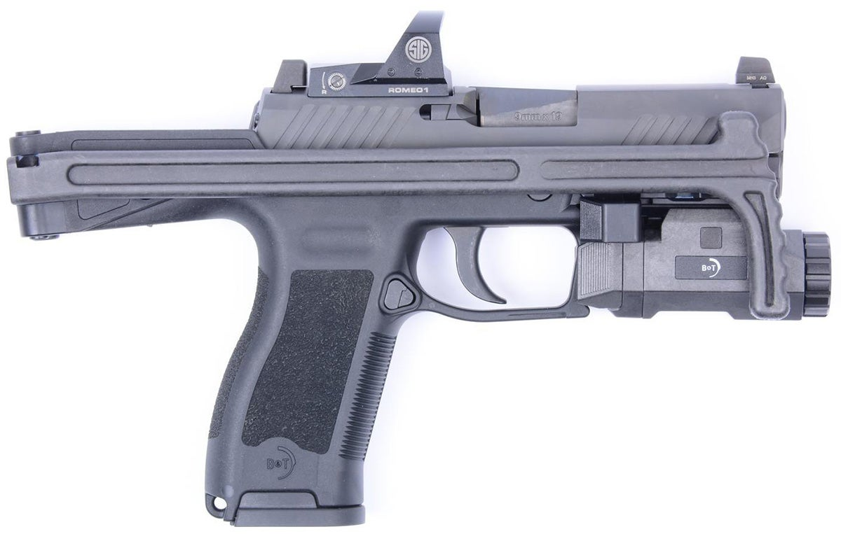 The B&T USA USW-320 Universal Service Weapon upgrade chassis will fit the SIG Sauer P320 or the military's M17.