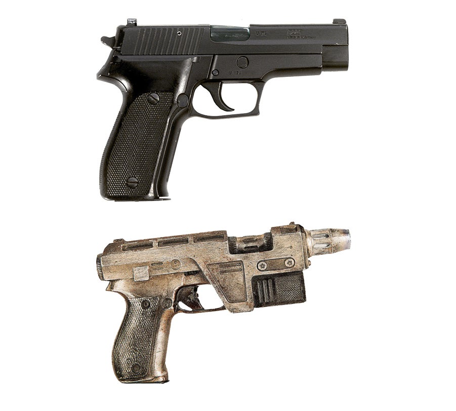 Eirriss Ryloth Defense Tech Glie-44 Blaster Pistol, carried by a number of Resistance pilots, is based on the SIG-Sauer P226.