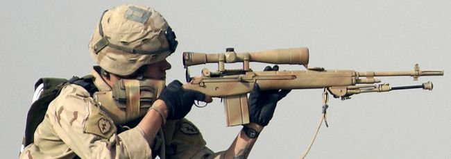 A reissued M21 rifle, in use in Iraq, 2006.