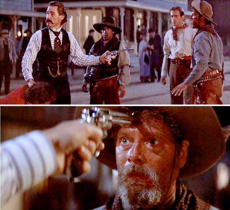 Earp threatens Ike Clanton with a Colt 1878 Double Action revolver.