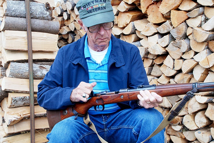 The Old Man working the bolt on the Mauser 98.