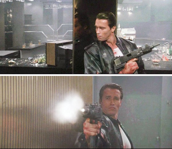 Apparently the filmmakers couldn't get any Uzi submachine guns, so they mocked up MAC-10s to stand in their place.