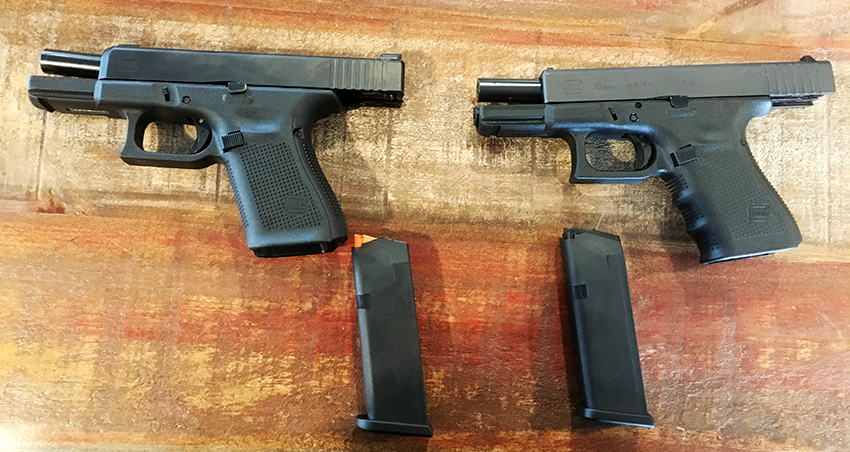 A Gen 5 G19 (left) compared to a Gen 4 G19. The most noticeable differences are the lack of finger grooves and the addition of an orange follower tot he new magazines.