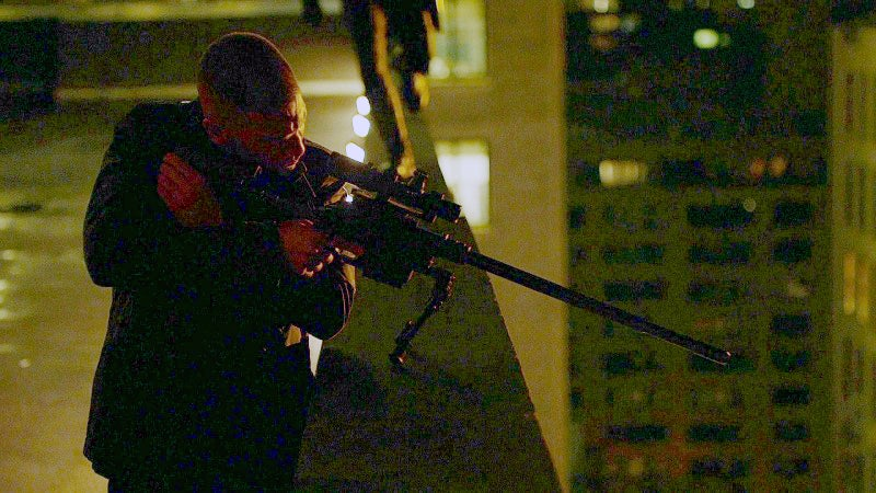 During a sniping scene, Frank uses a Nemesis Arms Vanquish rifle.
