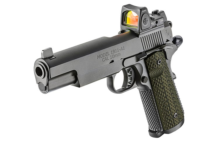 A look at the 5-inch barrel version of the Springfield 1911 TRP RMR 10mm pistol.