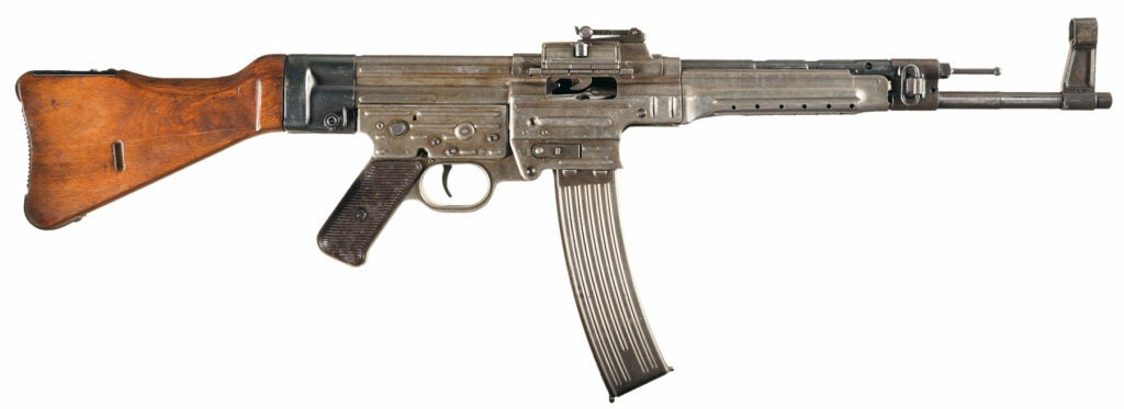 An example of a German-made WWII-era STG 44 Assault Rifle, one of many fully automatic firearms that could have been legally brought home from the war, but are still illegal to own if unregistered. If