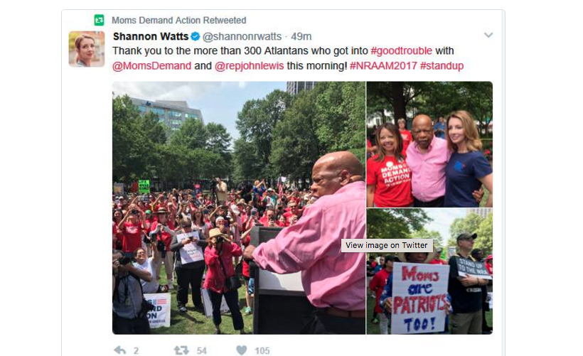 A tweet of closely cropped photos of Rep. John Lewis (D-GA) at the protest.