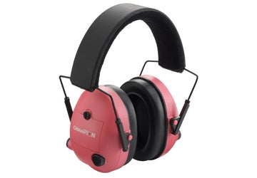 Champions' Ear Muffs—Electronic is has partially recessed control knobs that allow individual control of its right and left sides. The unit folds for easy storage in your shooting bag.