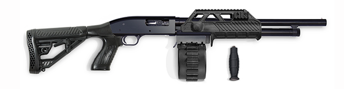 A Model 500 with the Adaptive Tactical Sidewinder kit installed