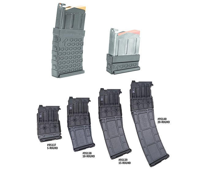 Remington 870DM magazines (top) are priced for about $35 and come in 3- and 6-round capacities. Mossberg 590M magazines come in a variety of capacities and range in price from $101 to $140.