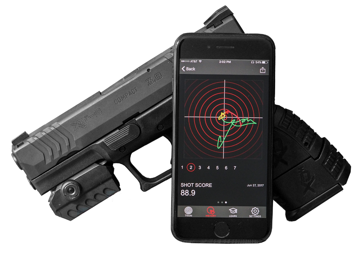 The Mantis X training system let's mom dry-fire practice any time, with real, trackable results.