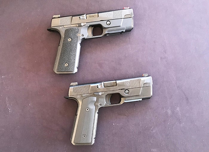 (Top) is the original Hudson H9 all-steel pistol and below is the H9A with an aluminum frame and a polymer backstrap and grip panels and a re-contoured slide. The H9A weighs about half-a-pound less th