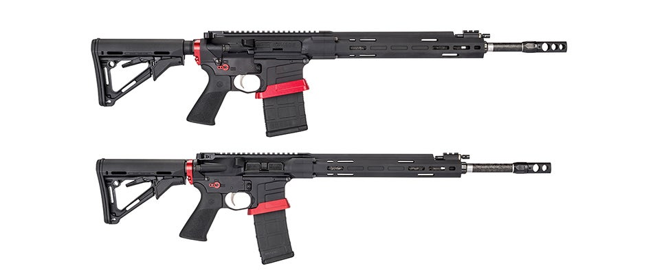 The Savage MSR 10 Competition HD (top) and the MSR 15 Competition.