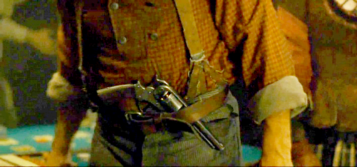 Wyatt is seen carrying a Starr 1858 Army pistol in his belt during his younger years working as a coach driver and boxing referee.