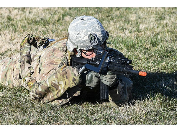 The new version of the prototype Third Arm allows for firing from the prone position, something the design from 2017 couldn't do.
