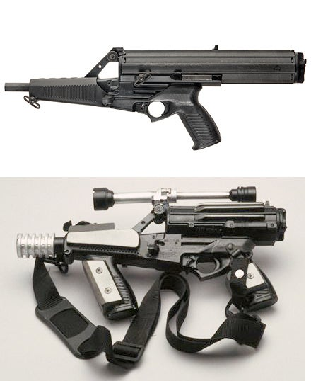 The Corellian Arms CR-2 Heavy Blaster Pistol is a real Calico M950A underneath.