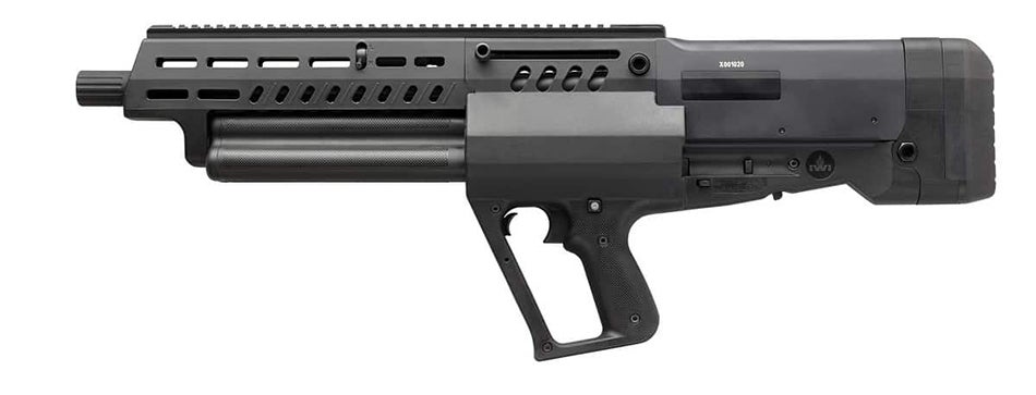 The semi-auto, gas operated shotgun uses three rotating tubular magazines that each hold five rounds of 2.75