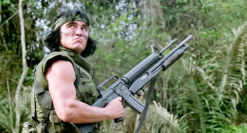 A better look at Billy's gun. You can see the M500 has had its grip and stock completely removed and is somehow bolted to the AR-15's handguard.