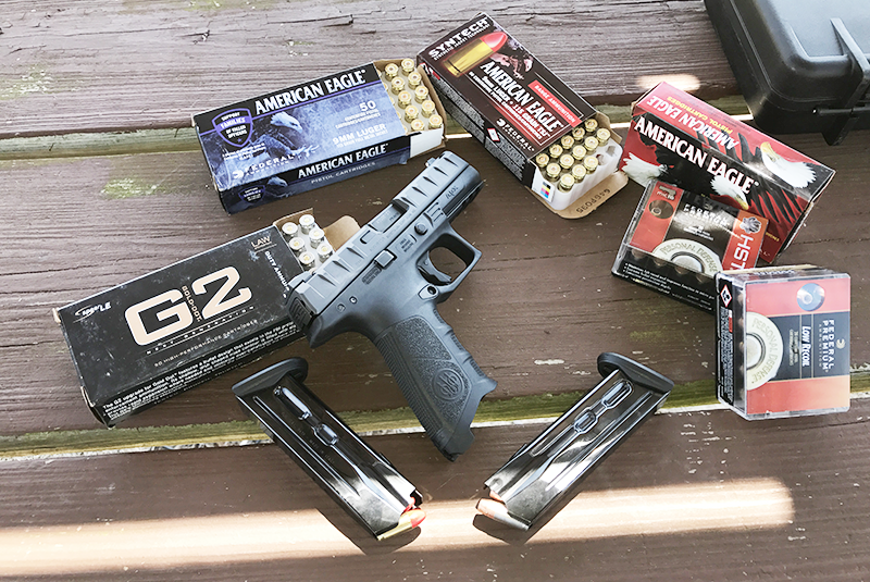 The APX at the range with an assortment of ammunition, from high-end HST and Low Recoil rounds from Federal and American Eagle Syntech, to regular 115-grain FMJs and duty-carry hollowpoints form Speer