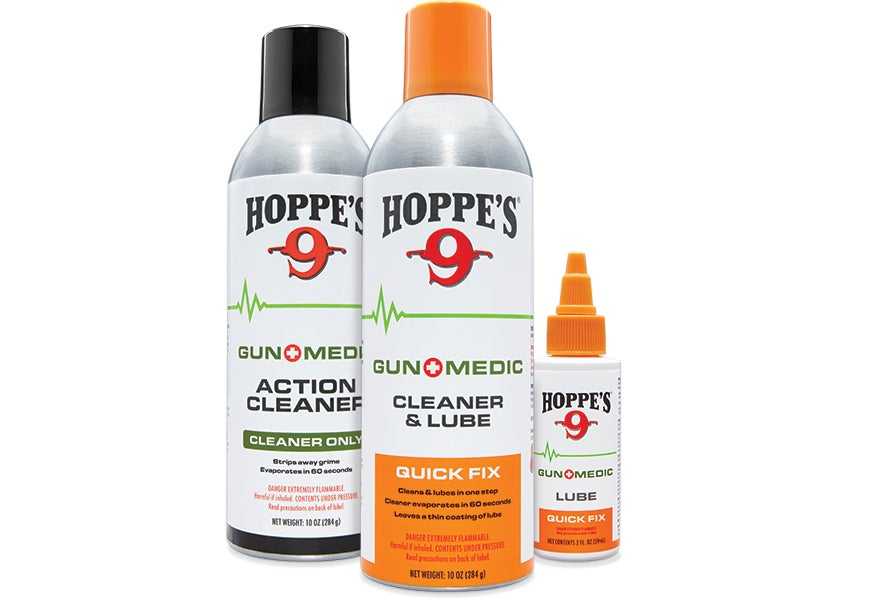 Hoppe's line of GunMedic cleaning products are fast acting and deal with the heavy grime of extended shooting sessions.