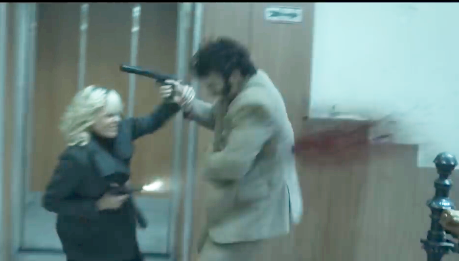 Lorraine gets into some CQB shooting as soon as she's attacked by an assassin with a suppressed pistol.