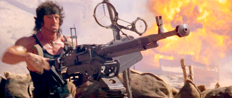 Rambo behind an actual Soviet DShK 12.7mm heavy machine gun, used while the production filmed in Israel.