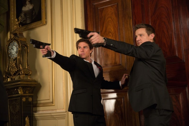 Tom Cruise and Jeremy Renner wield Walther SSP-E pistols modified to be tranquilizer guns in the Mission: Impossible - Rogue Nation.