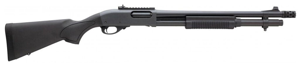 The M870 Express Tactical model with a synthetic stock, muzzle brake, and iron sights.