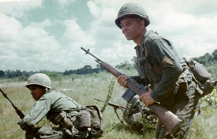 Soldiers in Vietnam armed with the M14 rifle.