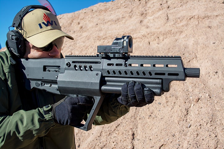 The IWI Tavor TS12 has a capacity of 15+1 rounds of 2-3/4